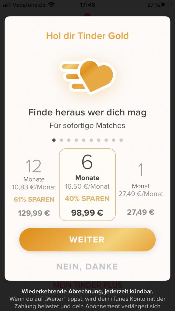 Dating app tinder kosten